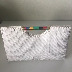 Vintage Rodo Italy Woven White Clutch Purse Rare